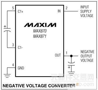 max870, max871 开关电容电压反相器
