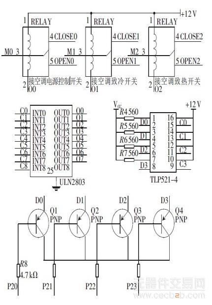 继电器开关控制模块与微控制器的电路连接图如图3