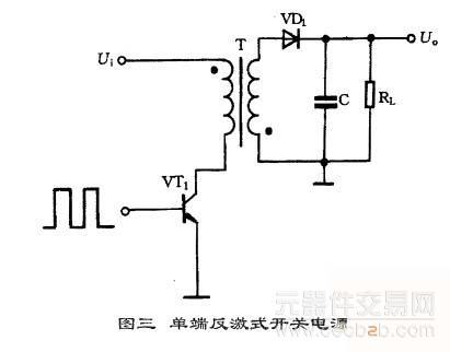 单端反激式开关电源模块的典型电路如图三所示.