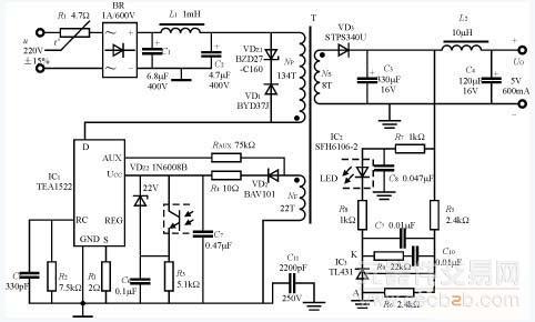 由tea1522t构成的3w精密开关电源模块电路
