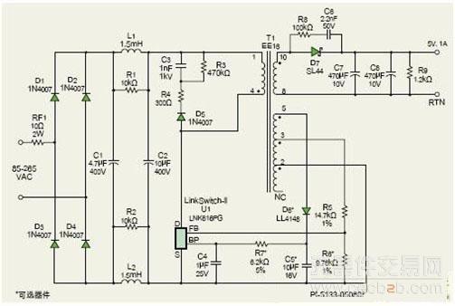 该电路可为最高1a的负载提供5v恒流输出
