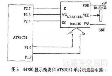 44780显示模块和at89c51单片机连接电路如图3所示.