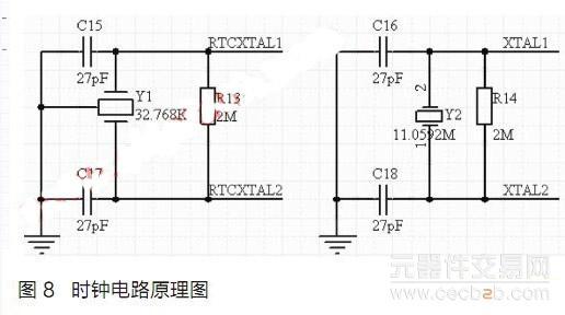 呼吸频率测量模块设计 对于呼吸频率信号的感知,可选取灵敏度高的热电阻Pt1000传感器。它精度高,稳定性好,应用温度范围广,不仅广泛应用于工业测温,而且被制成各种标准温度计供计量和校准使用。Pt1000传感器与MXT8051的接口原理图如图5所示。 脉搏测量模块设计 对于脉搏信号的感知,选取普通的拾音头MIC即可感知脉搏音信号,将采集到的模拟信号通过片上运算放大器交由MXT8051处理。拾音头与MXT8051的接口原理图如图6所示。  输出显示模块设计 输出模块中,语音芯片可选取Winbond公司的ISD