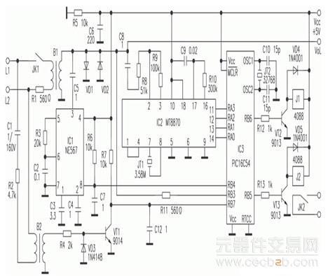 以pic16c54单片机作控制器的电话扩音器系统