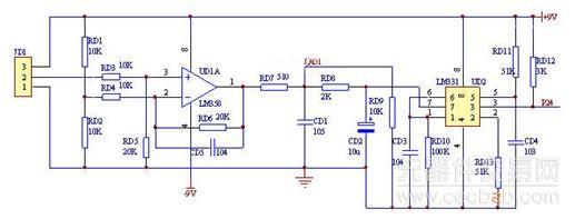 输入电压经射随器ud1a从lm331