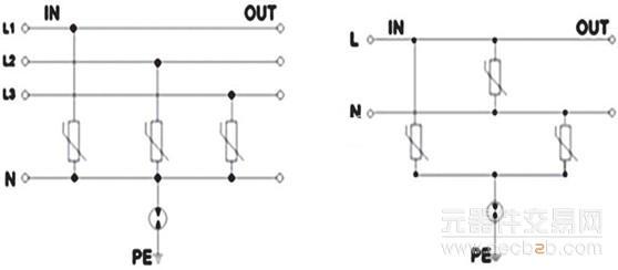 防雷(电源浪涌保护器)电路,即在各相线和零线分别并联一个压敏电阻.