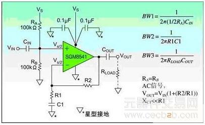 该电路的电源抑制仅仅只有6db,通过选用sgm8541运算放大器可以增强