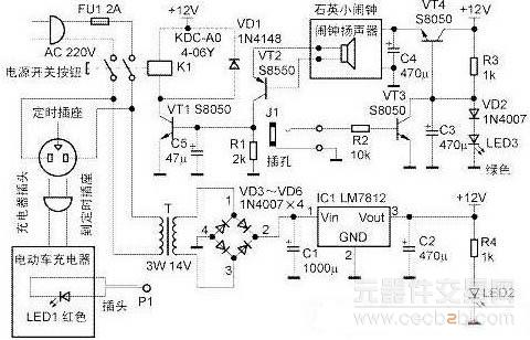 ic1选用lm7812,vd1选用in4148型二极管,vd2~d6选用in4007型二极管