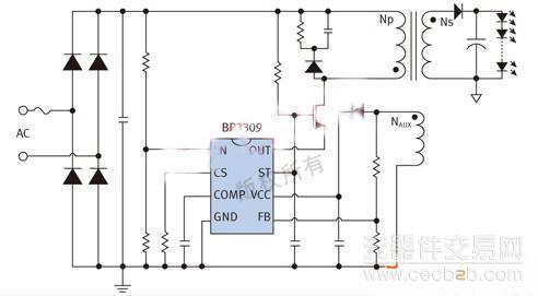 图3是bp3309的典型应用电路