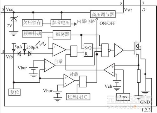 直流高压电源通第8引脚vstr进入芯片内部的高压调节器,再稳压到7v作为