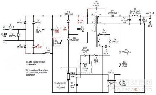 为12v1a输出的宽电压输入反激式转换器