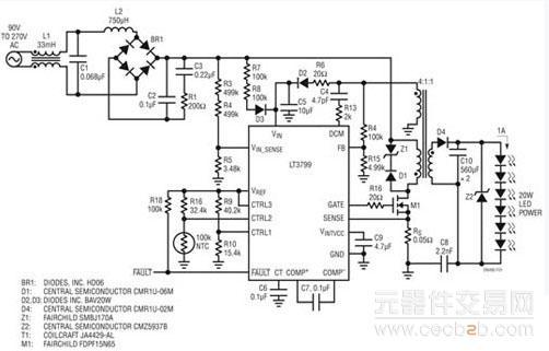 驱动器 高功率因数、低谐波 通过使线路电流跟随施加的正弦波电压,LT3799 实现了高功率因数,并且满足了 IEC61000-3-2 C 类照明设备谐波要求。如果所吸收的电流与输入电压成比例,就能实现等于1 的功率因数。LT3799 用一个从输入电压产生的、与输入电压成比例的电压调制峰值开关电流。这种方法提供了 0.
