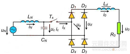 电压型单相半桥式整流电路    一、主电路的结构   1、倍压电路:如果假定T1/T2始终处于关断状态,则输入电压正半周期间D1/on,电容Cd1上直流电压uc1近似等于输入电源的峰值uNm;同理可知,电容Cd2上直流电压uc2 近似等于输入电源的峰值uNm,所以直流输出电压uo= uc1+ uc2=2 uNm   当T1/T2按一定占空比导通时,电路变为一个Boost变换器,所以uo= uc1+ uc2>2 uNm   2、控制极脉冲的时续:   电路采用SPWM控制方式,主电路中上下桥臂两个IG