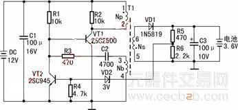 太阳能手机充电器的电路图