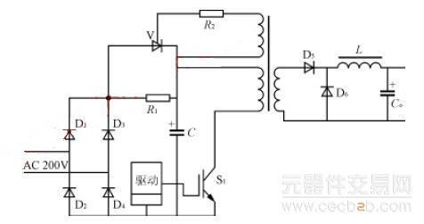 电源接通瞬间,输入电压经整流(d1~d4)和限流电阻r1对滤波电容器c1