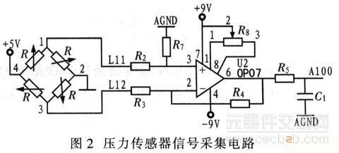 信号放大部分采用功耗低,输入失调电压小,线性度好的op07运算放大器:a