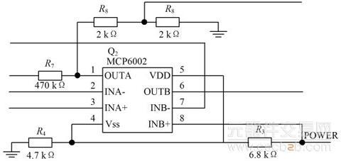 2 信号初步处理电路   本电路由脉搏波信号滤波电路,脉搏波信号放大