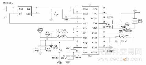 轮胎模块电路采用freescale公司的智能嵌入式传感器mpxy8300.