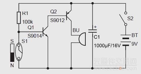 一,工作原理   该磁控门窗防盗报警器的电路原理如图1 所示.