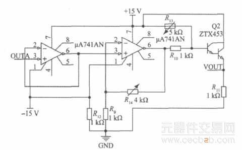 主要包括2个μa741高增益运算放大器组成的放大部分及三极管ztx453