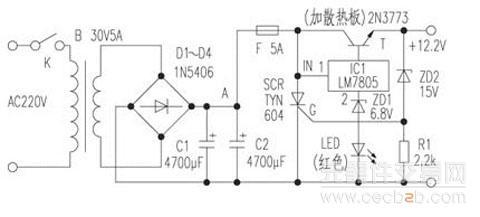 工作原理: 该电源电路简单,它用变压器t把市电220v降压为30v,该低