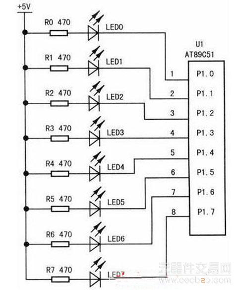流水灯或指示灯时,应让发光二极管的负极接单片机的i