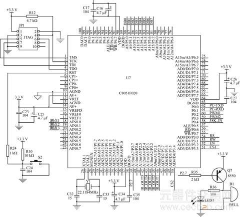 c8051f单片机最小系统原理图