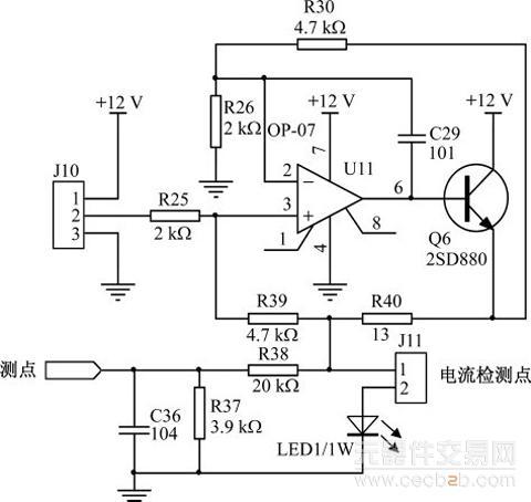 功率三极管q6的基极与运放相连,用来增加驱动电流.