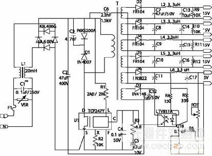 top247y的多路开关电源的工作方案介绍