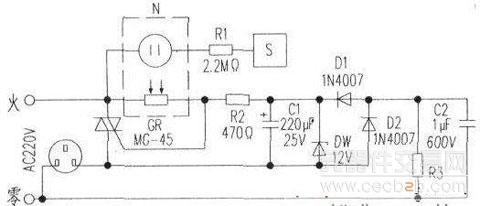 r2向双向可控硅触发极供电,所以当手指离开触摸片后,电路仍能自锁.