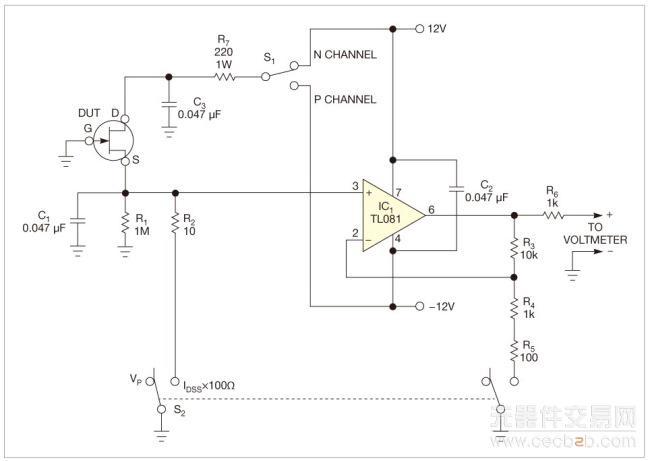这个增益使电压表能够方便地读出r2上的小电压, 读数值就是零漂漏极