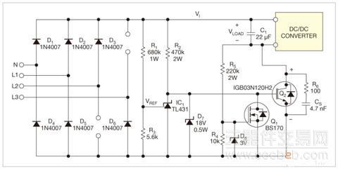 浅析用一只三相整流器和降压器做离线单相电源
