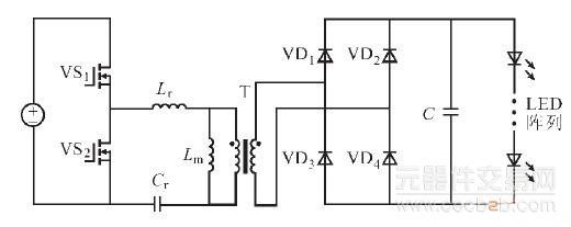 图1 半桥llc 谐振变流器电路拓扑