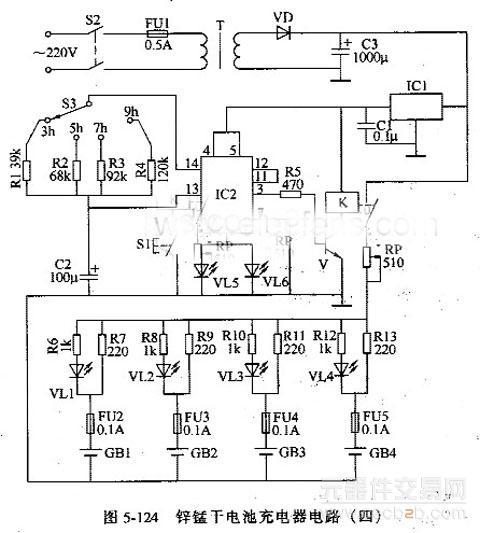 锌锰干电池充电器,具有定时和充电指示功能,其充电电流为5oma,可