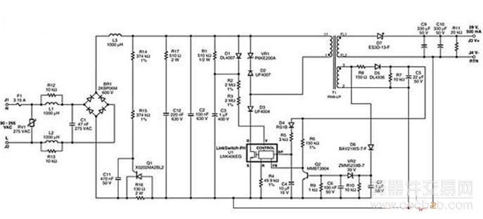 要想实现无故障的调光工作,驱动器必须能够限制振荡并防止可控硅电流降到维持电流值以下。图2所示为具备此功能的驱动器的完整电路图。    图 2:用于A19白炽灯替换灯的5W、15V可控硅调光LED驱动器的电路图   图2中的电路提供350mA的单路恒流输出和15V的LED串电压。使用标准交流电源可控硅调光器可将输出电流减小1%(3mA),并且不会造成LED负载不稳定或闪烁。该驱动器可同时兼容低成本的可控硅调光器和更复杂的电子前沿及后沿调光器。   该驱动器的功能增加了输入EMI滤波和三个可控硅调光所特有