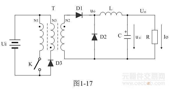 其工作原理与图1-2的串联式开关电源电压滤波输出电路完全相同,这里不