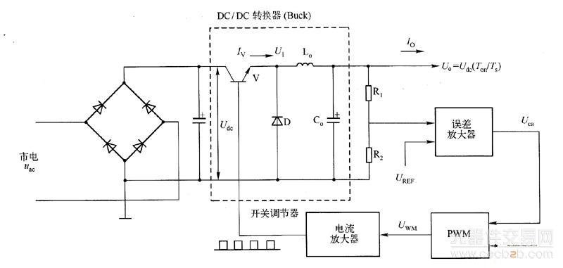 以开关转换器为主要组成部分,用闭环自动控制来稳定输出电压,并在电路