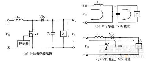 功率开关mosfet( vt1),控制电路,升压二极管(vd1 )和输出电容器(c0)