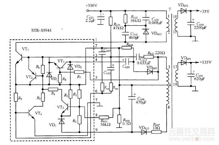 图1 str-55941构成的开关电源电路