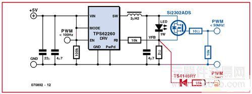 """高亮度 LED 在照明应用中的使用越来越广泛。我们在这里将介绍一种简单的""""气氛照明灯"""",其仅使用了少量的组件。所有这三 种 LED 均由使用开关调节器的恒定电流来供电,同时亮度控制由能够产生三种 PWM 信号的 MSP430 微控制器来完成。可以用磨 砂玻璃外壳将印刷电路板安装到台灯中,或者也可以和 LED 聚光灯一起使用来进行间接照明。无论其功耗有多大,现在的 LED 通常都使用一个恒定电流源来驱动。这是因为以流明 (lm) 为单位的光输出量和电流量成正比例 关系。因此,所有"""