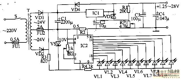采用发光二极管制作的可调直流稳压电源