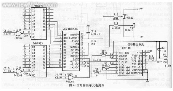 dac输出的模拟电压信号da_out接入后级转化电路xtr110,先通过其片内