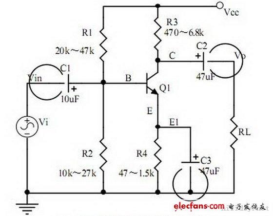 五、共射极放大电路      注意要点:   1、三极管的结构、三极管各极电流关系、特性曲线、放大条件;   2、元器件的作用、电路的用途、电压放大倍数、输入和输出的信号电压相位关系、交流和直流等效电路图;   3、静态工作点的计算、电压放大倍数的计算。   六、分压偏置式共射极放大电路      分压偏置式共射极放大电路   注意要点:   1、元器件的作用、电路的用途、电压放大倍数、输入和输出的信号电压相位关系、交流和直流等效电路图;   2、电流串联负反馈过程的分析,负反馈对电 路参数的影响;