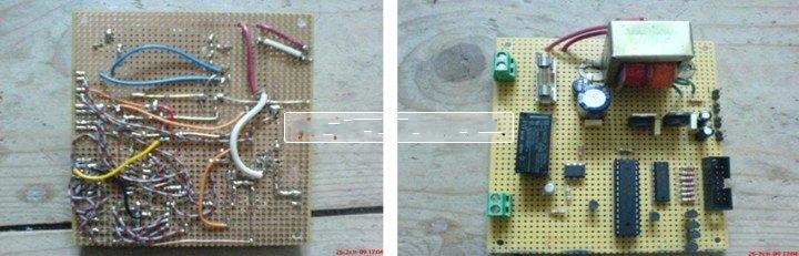 四黑光灯灯,15W每个发出的UVA地区辐射,与上述薄的感光电路板的铜表面,是一个约350nm的峰值 ... ... 敏感。灯是由两个串联,从而塑造了两个类似的模块。每个模块都有自己的的镇流器,并可以通过中继连接到220V 交流。一个微控制器,一个用户定义的倒计时,达到零激活一个继电器后计数。剩余的时间是4个7段LED显示屏上显示 。最大的倒计时是99分钟和59秒 。所需的倒计时进入使用只有两个按钮,设置和启动/停止。短期的SET按钮,将增加目前的数字,而长期推动将改变数字SECONDS秒秒几十年,到几分