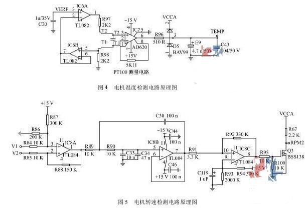 3 电机转速检测电路   系统中,电机转速的检测采用霍尔测速传感器来