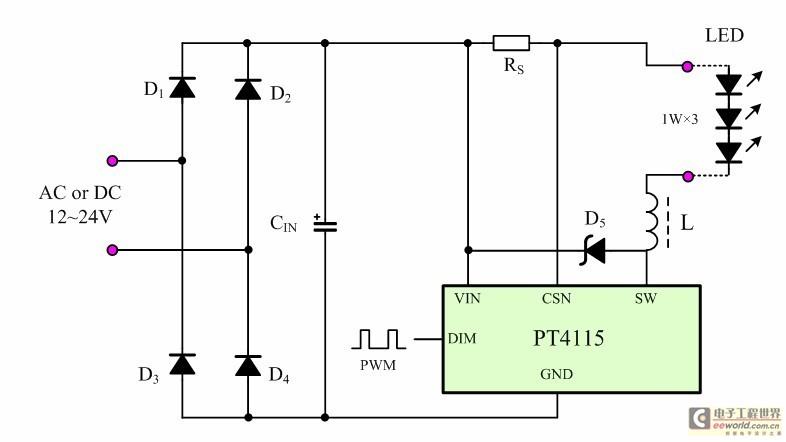 应用方案简洁的pt4115实用电路