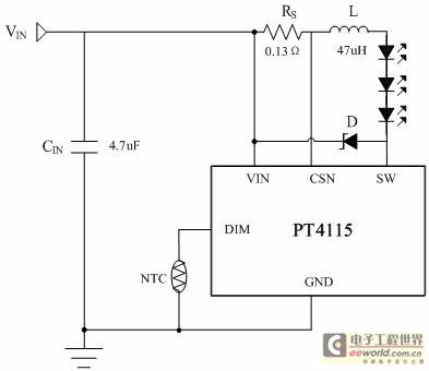 可在dim端加一热敏电阻,ntc或温度二极管,dim端的电压由rup和ntc分压