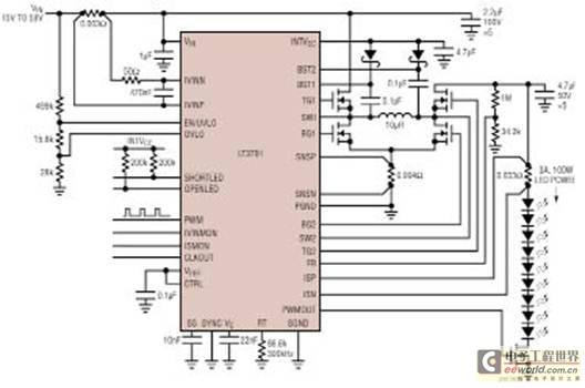 Linear公司的LT3791是同步的四开关升压-降压LED驱动控制器,可使VIN高于、低于或等于VOUT,效率高达98.5%,输入电压4.7V~60V,输出电压0V~60V,LED电流精度6%,真彩色PWM和模拟调光,每个IC输入功率100W或大于100W。主要用于汽车前灯/行驶灯和通用照明。其连续恒定频率和强制恒定电流模式架构,使其可以进行调整,或同步200kHz~700kHz的频率。在降压或升压操作时无需顶部MOSFET开关循环周期。该器件为60V输入,60V输出。和工作区域之间的无缝转换,使LT3