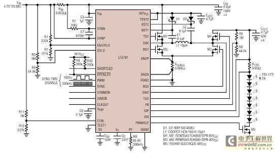 50w(25v2a)升-降压led驱动电路图