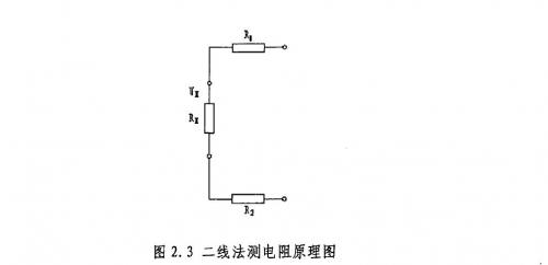 1二线法测电阻原理 二线法测电阻的电路示意图